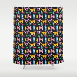 Happy Dogs On Black Shower Curtain