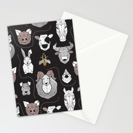 Friendly Geometric Farm Animals // black background black and white brown grey and yellow pigs queen bees lambs cows bulls dogs cats horses chickens and bunnies Stationery Cards