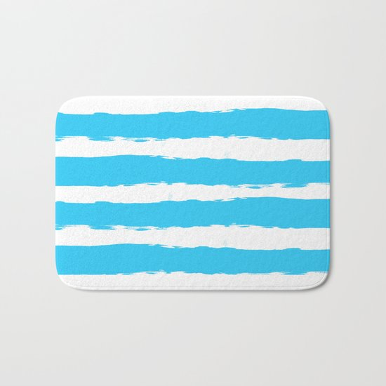 Simply hand-painted teal stripes on white background -Mix & Match Bath Mat