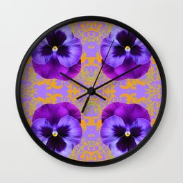 FOUR  PURPLE PANSIES ON LILAC  BROCADE GARDEN Wall Clock