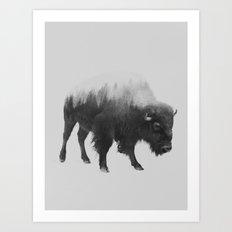 Bison (black & white version) Art Print