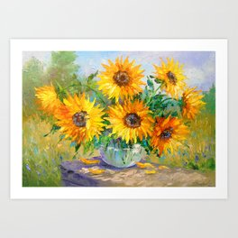 Bouquet of sunflowers on the table Art Print