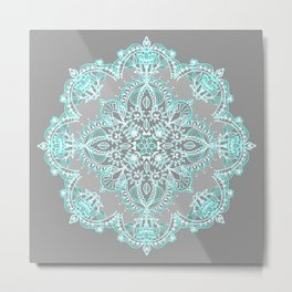 Teal and Aqua Lace Mandala on Grey Metal Print