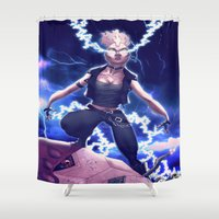 punk rock Shower Curtains featuring Storm X Men 80's Punk Rock by Brian Hollins art