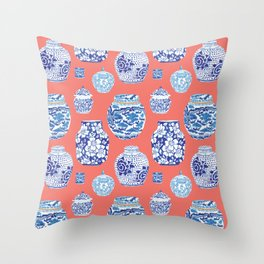 Chinoiserie Ginger Jar Collection No.4 Throw Pillow