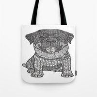 rottweiler Tote Bags featuring Courageous- Rottweiler by DiAnne Ferrer