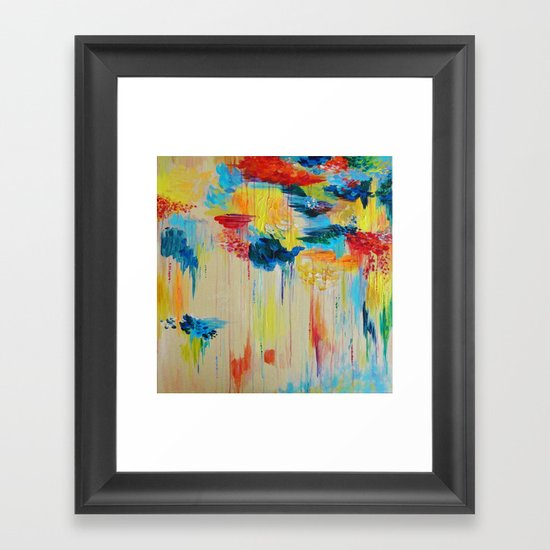 VANCOUVER RAIN - Stunning Rainbow Colorful Bold bright Rain Clouds Stormy Day Wow Abstract Painting Framed Art Print
