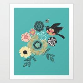 Birds & Bees - Turquoise Art Print
