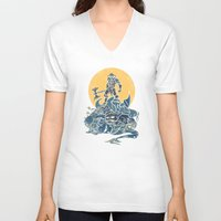skyrim V-neck T-shirts featuring The Dragon Slayer by Fanboy30