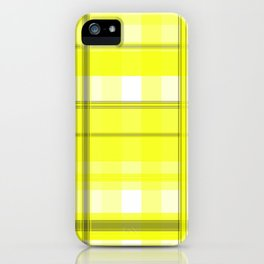 Yellow White and Gray Plaid iPhone Case