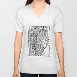 Polar Bear Mandala by Lady Lorelie Unisex V-Neck