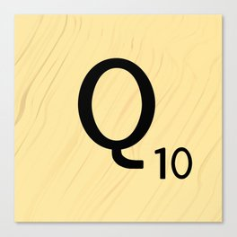 Scrabble Q - Large Scrabble Tile Letter Canvas Print