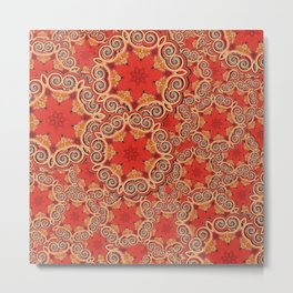 K143 - Red Curls Abstract Metal Print