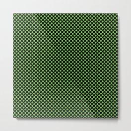 Black and Green Flash Polka Dots Metal Print