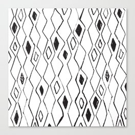 Linocut pattern minimal black and white basic home decor minimalist Canvas Print