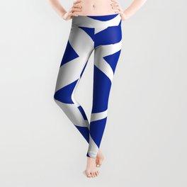 Blue and White Pattern Fish Eye Design Leggings