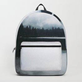 Minimalist Cold Landscape Pine Trees Water Reflection Symmetry Backpack