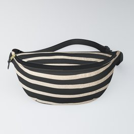 Simply Drawn Stripes White Gold Sands on Midnight Black Fanny Pack
