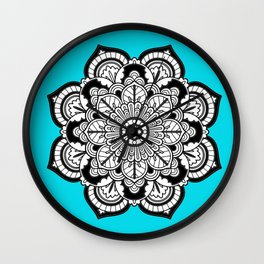 Black and White Flower in Blue Wall Clock