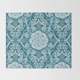 Centered Lace - Teal  Throw Blanket