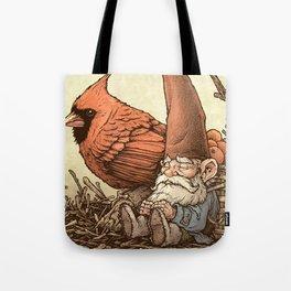Sleepy Gnome & Cardinal Tote Bag