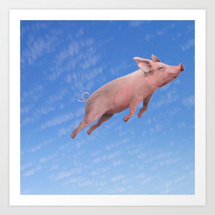 Flying Pig Art Print By Derekbacon Society6