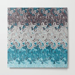 paisley swirls in teal and earth Metal Print
