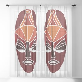 African traditional tribal mask in sunset colors Sheer Curtain