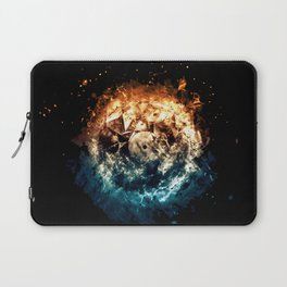 Burning Circle - Fire and Ice - Isolated Laptop Sleeve