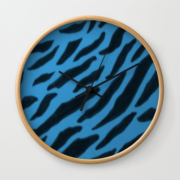 Cornflower Blue Zebra  Print Wall Clock