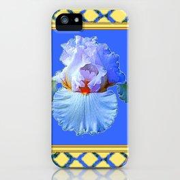 BLUISH-WHITE PASTEL IRIS FLOWER BOTANICAL ART iPhone Case