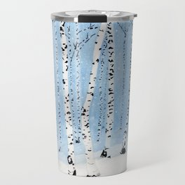 Late Afternoon Snowstorm in the Forest Travel Mug