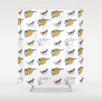 tits Shower Curtains featuring Great Tits eat Grasshoppers by The Bird Draws