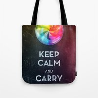 keep calm Tote Bags featuring Keep Calm by Michael Flarup