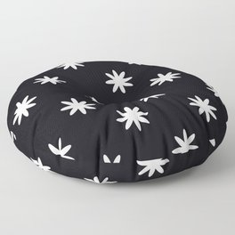 Floral Patter with black background Floor Pillow