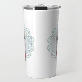White Mini Schnauzer in Foil Crochet Wreath Travel Mug