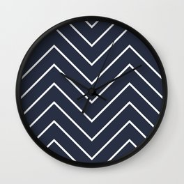 Yacht style. Navy blue chevron. Wall Clock