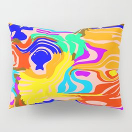 Bright flowing spots of colored lava lines on blue. Pillow Sham
