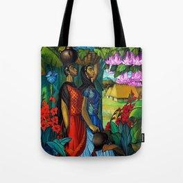 'Tehuanas con floripondios y gladiolas' floral tropical painting by Alfonso Pena Tote Bag