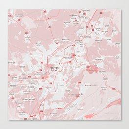 Minimalist Modern Map of Yerevan, Armenia 1 Canvas Print