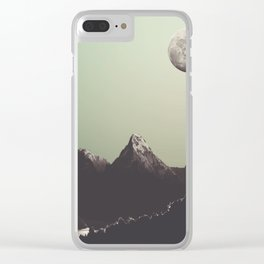 Moon & mountain Clear iPhone Case