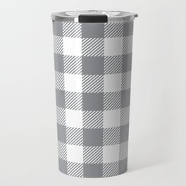 Buffalo Plaid - Grey & White Travel Mug