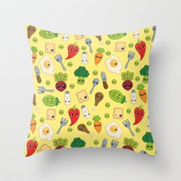 Cute Kawaii Food Pattern Throw Pillow