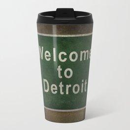 Welcome to Detroit highway road side sign Travel Mug
