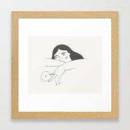 Girl with a Flower Framed Art Print