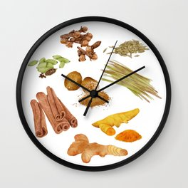 Watercolor Illustration of a set of spices Wall Clock
