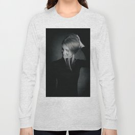 Blonde hair girl out of focus portrait Long Sleeve T-shirt