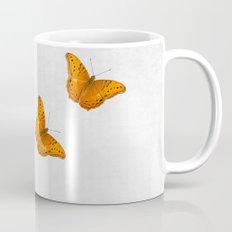 Beautiful butterflies on a textured white background Mug