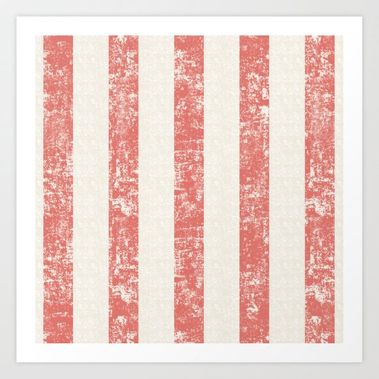 Maritime Beach Pattern- Red and White Stripes- Vertical - Art Print