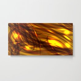 Saturated bronze and smooth sparkling lines of metal tapes on the theme of space and abstraction. Metal Print